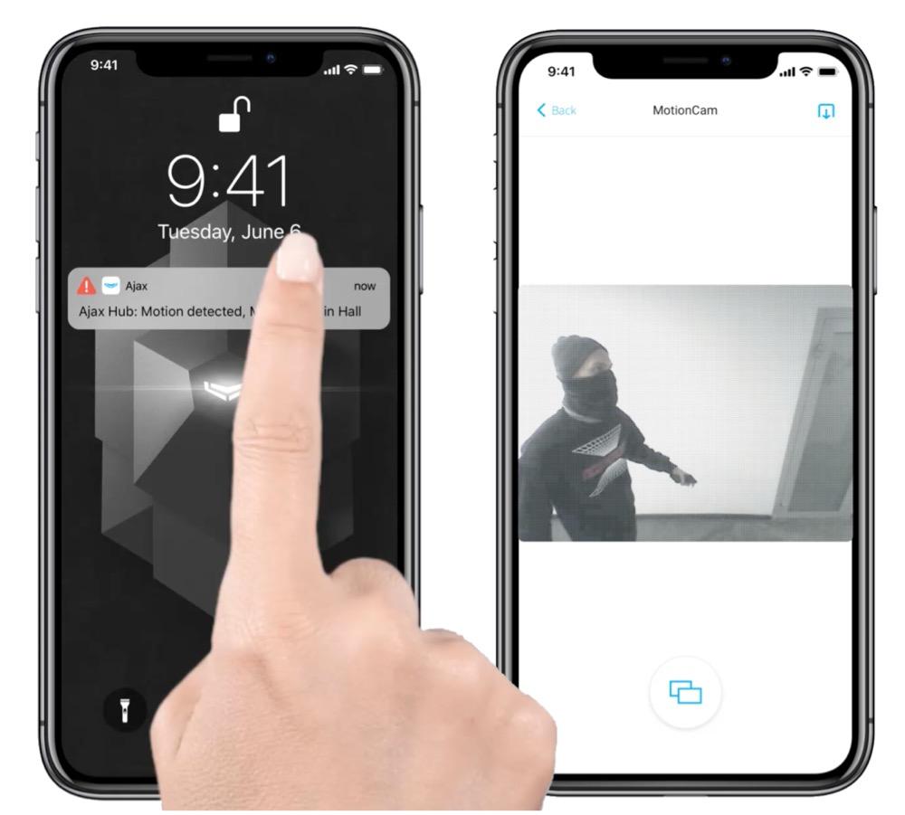 Ajax Hub 2 envoie une séquence vidéo dur votre smartphone