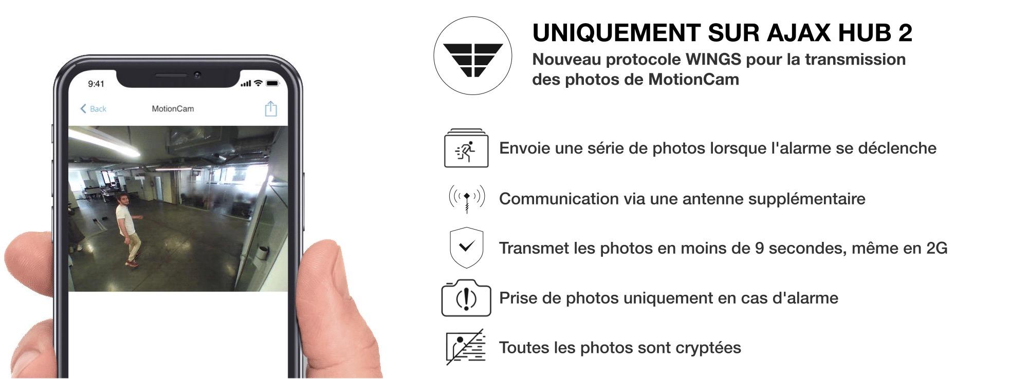 Technologie Wings pour la transmission des photos de Ajax MotionCam